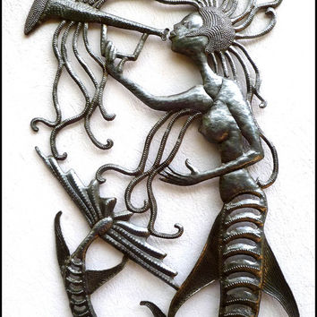"Metal Wall Art, Mermaid Metal Wall Hanging - Handcrafted Haitian Recycled Steel Drum Metal Art - Mermaid Metal Wall Decor - 14"" x 24"" - 2014"