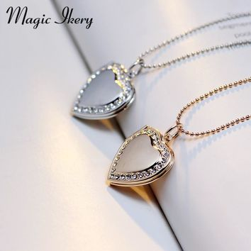 Magic Ikery Photo memory floating locket Necklace Rose Gold Color Heart Flash Box fashion necklaces for women