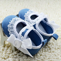 Toddler Baby Girls Princess Bowknot Lace Floral Dress Soft Sole Crib Dress Shoes