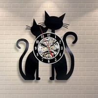 Hot CD Vinyl Record Cat Wall Clock Modern Design Classic