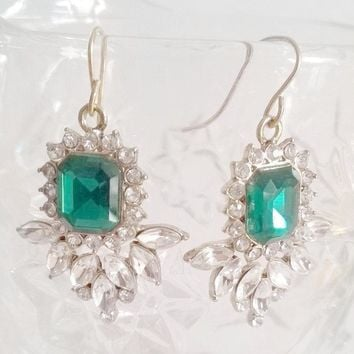 Emerald Green Rhinestone Dangle Earrings. Jewelry