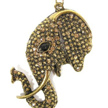 Crystal Tusked Elephant Head Necklace Safari Charm NC22 Bronze Tone Tribal Africa Pendant Fashion Jewelry