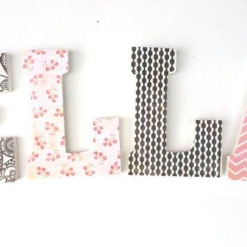 Baby girl names, nursery letters, hanging nursery letters, soft pink and charcoal
