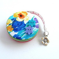 Tape Measure Watercolor Poppies by AllAboutTheButtons on Zibbet