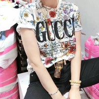 """ Gucci"" Woman Casual  Wild Fashion Letter Personality Pattern Printing Short Sleeve T-Shirt Tops"
