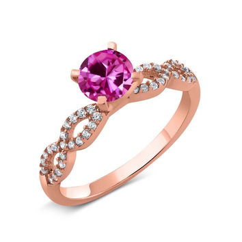 1.50 Ct Pink Created Sapphire 18K Rose Gold Plated Silver Engagement Ring
