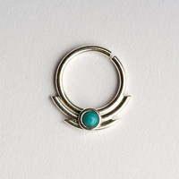 Septum Ring / Nose Ring/ with double lines  sharp edges  and 2mm Turquoise stone - Sterling Silver 18g, 8mm or 10mm inside dimension