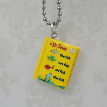 Dr. Seuss One Fish Two Fish Red Fish Blue Fish polymer clay Necklace