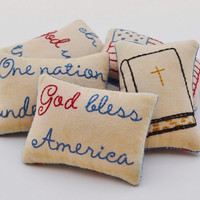 Religious Patriotic Decorative Pillows - God Bless America - In God We Trust - One Nation Under God - 4th of July - Flag - Red Blue Plaid