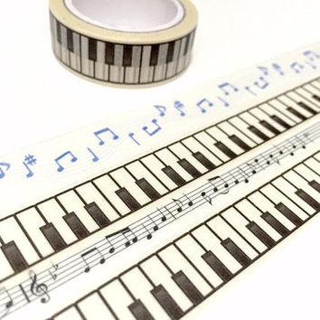 piano keys washi tape 7M x 1.5cm piano keyboard masking tape music theme piano sticker tape piano pattern planner sticker scrapbook gift