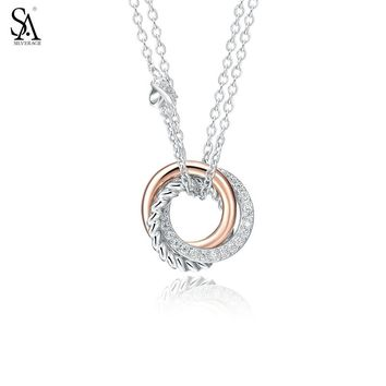 SA SILVERAGE Rose Gold Cubic Zirconia Love Knot Necklaces Real 925 Sterling Silver Round Circle Women Necklaces & Pedants