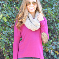 Lights Camera Action Magenta Sequin Elbow Patch Top