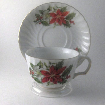 Vintage Collectible Teacup Porcelain  Christmas Tea Cup and Saucer by Inarco Japan