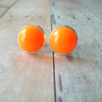 T A N G - Bright Summer Orange Color Cab Circle Silver Plated Post Stud Earrings