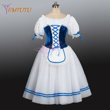peasant professional ballet costume blue white village girl ballet long tutu Napoli romantic ballet dress