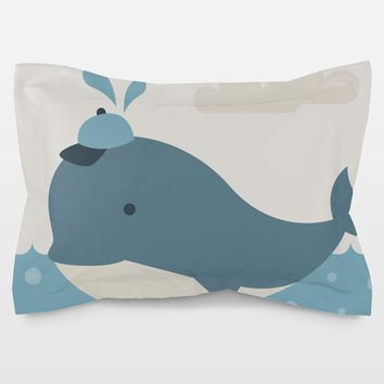 Baby Boy Whale Pillow Sham by Texnotropio on BoomBoomPrints