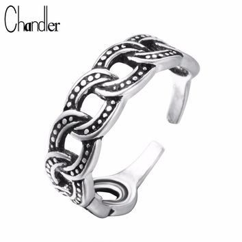 Chandler 925 Sterling Silver Chain Link Finger Ring Antique Black Adjustable Knuckle Toe Feet Anillos Anel Punk Retro Max Gifts