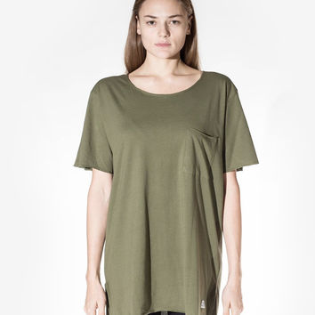 Basic Raw-Cut Elongated Short Sleeve Tee in Olive Army: WMNS