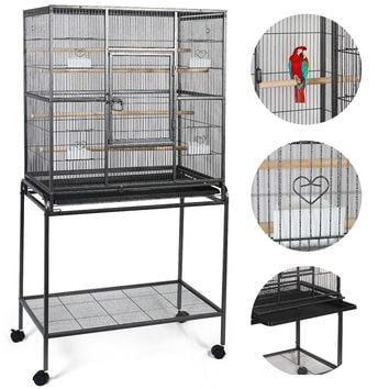 """32"""" x 18"""" x 64"""" Large Bird Parrot Cage This large iron bird cage, featuring 4 feeding cups to feed, 4 perches to stand on, makes it a lovely home for your pets"""