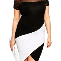 Plus Size Curve Body-conscious Asymmetric Color Block Dress