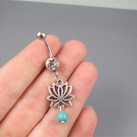 Lotus belly button jewelry ring,lotus turquoise belly ring,lucky charm Belly Button Jewelry,summer jewelry,girlfriend gift