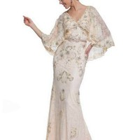 30's Inspired Champagne Beaded Lace Tulle Gown w/Capelet