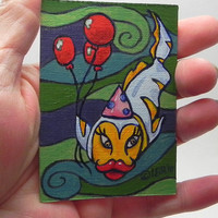 whimsical fish art, desk art, small fish painting, birthday fish, fish with balloons, happy fish, art for small places, ACEO, 1354