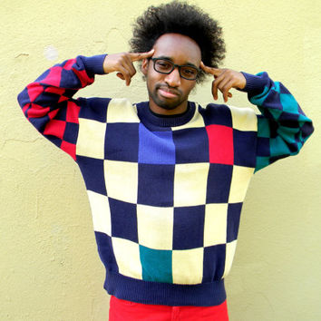 Vintage Cosby Sweater - Vintage 90s Multi-Colored Checkerboard Hip Hop Pullover in Red, Pale Yellow, Blue, and Green Knit - Mens Large L
