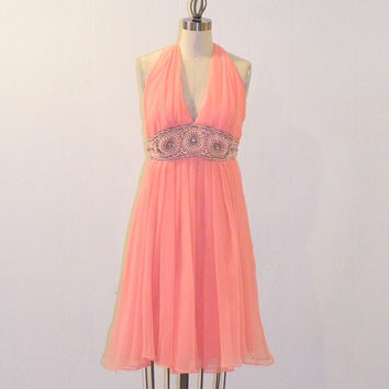 1960s Beaded Party Dress, Coral Pink Georgette Chiffon 60s Halter Cocktail Dress, Beaded Rhinestone Empire Waist Vintage Prom Dress, Goddess