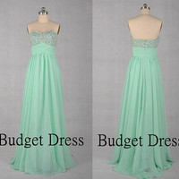 Fashionable Desing Sweetheart Neckline Floor Length Chiffon Prom Dress with Bead Work Bridesmaid Dresses Prom Dresses - Long Cihffon Dresses