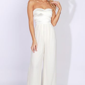 Banded Strapless Jumpsuit Ivory
