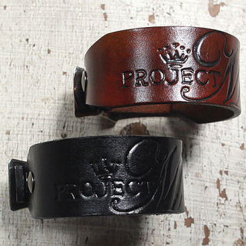 Custom Geniue Leather Cuff Bracelet with YOUR Logo or Design