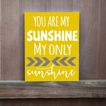 You Are My Sunshine Hand Painted Canvas, Gift for Birthday, Gift for Her, Gift for Him, Gift for Baby, Home Decor, Wall Art, Baby Shower
