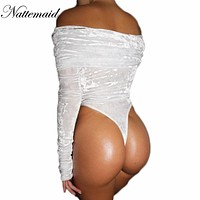 NATTEMAID Women Fashion Velvet Bodysuit Full Sleeve Tops Sexy Slash Neck Off Shoulder Jumpsuit Bodycon Clubwear Rompers 4colors