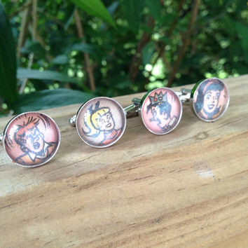 Archie Comic Book Cufflinks Interchangeable - (Ready to Ship) - Groom's Corner - Wedding Cufflinks - Everyday Cufflinks