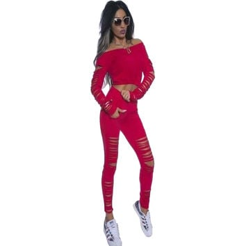 Red Long Sleeve Crop Top Ribbed Cutout Pant Set LAVELIQ