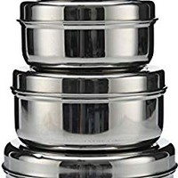Shaurya 18/8 Stainless Steel 4-pack nesting Lunch Box and food storage container set - Eco friendly, Dishwasher Safe, BPA free, Great for snacks, food storage or leftovers 10oz- 30oz