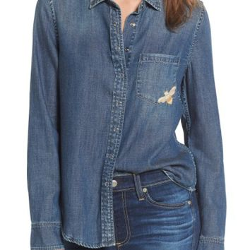 AG Joanna Embroidered Denim Shirt | Nordstrom