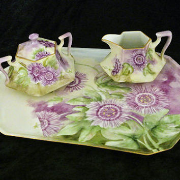 Antique Artist Signed Hand Painted Porcelain Sugar Creamer Tea Tray Set Bavaria MZ Austria PT Passion Flowers Lavender  Floral Motif