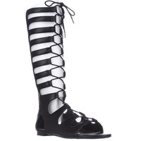 bar III Violet Tall Lace-Up Gladiator Sandals - Black