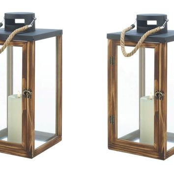 2 Square Metal Top Wooden Candle Lanterns