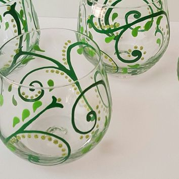 4 Green Swirl Stemless Wine Glasses, High Quality wine glasses, Hand Painted wine glass, wine glass set, spring theme