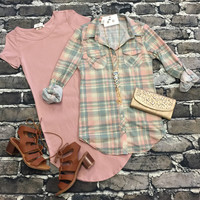 Penny Plaid Flannel Top: Moss/Rose