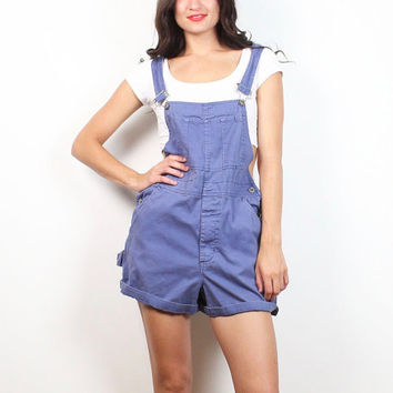c20b8b8128eb Vintage 90s Overall Shorts Blue Cotton Dungarees Jumper Romper P