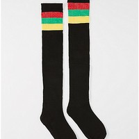 Athletic Stripe Rasta Thigh High Socks - Spencer's