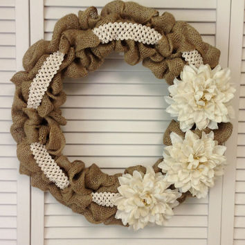 Large Burlap Wreath with Burlap Flowers and Lace Ribbon, Wreath for All Year, Winter Wreath, Spring Wreath, Cream Burlap Dahlia, Wreath