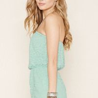 Strapless Floral Lace Romper