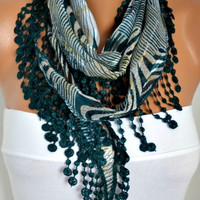 ON SALE - 50% OFF - Emerald Green  Zebra  Scarf -  Cotton  Scarf - Shawl -  Cowl with Lace Edge   - fatwoman