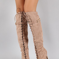 Qupid Faux Suede Lace Up Peep Toe Stiletto Thigh High Boot