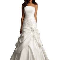 Wedding Dress by Allure Bridals 2458 Strapless Pleated Mermaid - White/silver, size 4